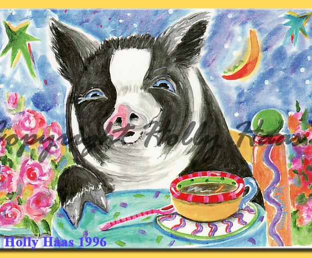 Pig at Cafe
