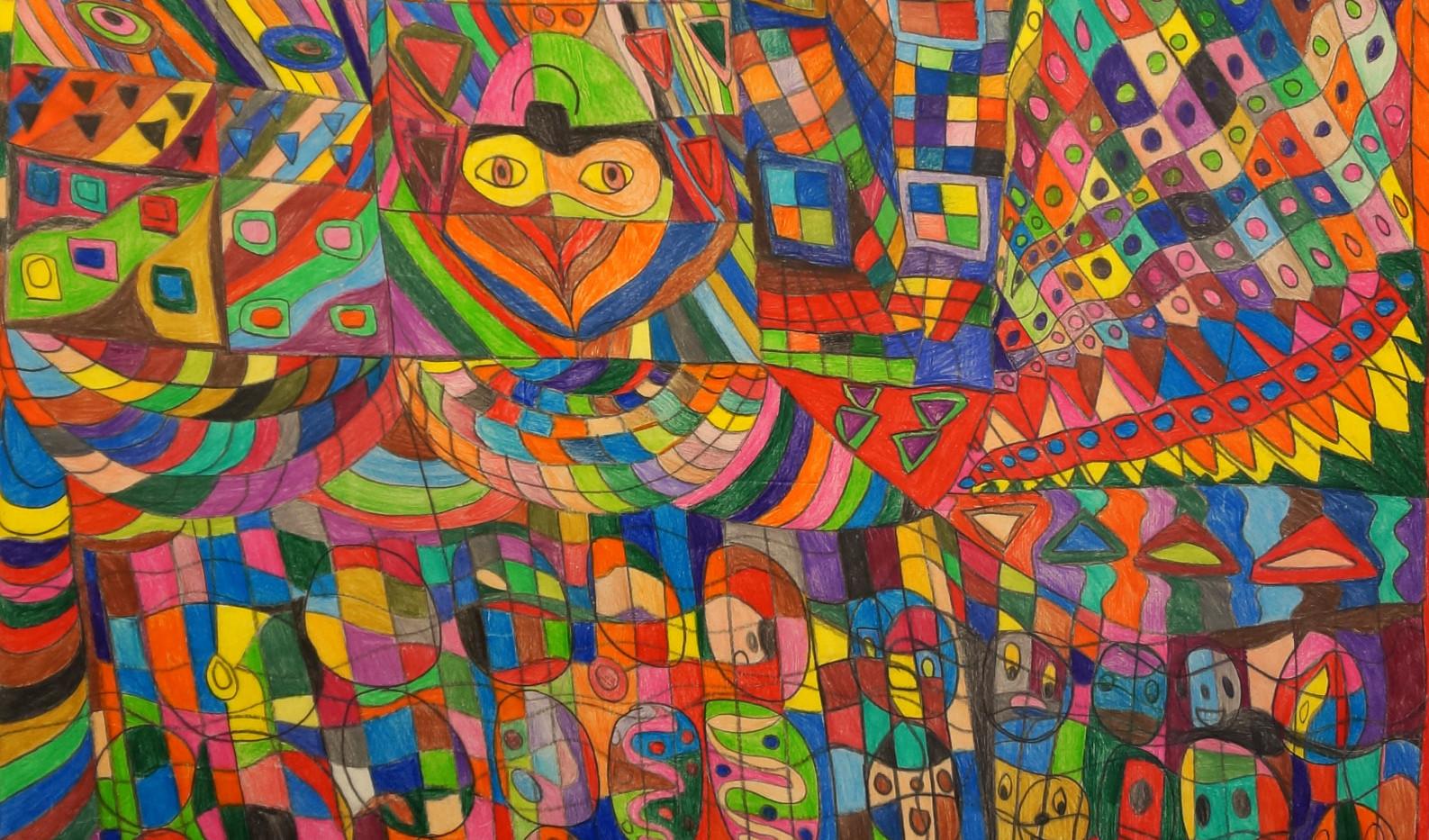 Masques et maisons, 2020. cm100x70