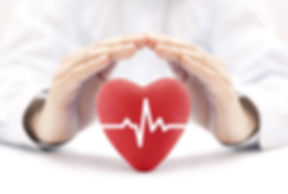 Heart pulse covered by hands. Health ins