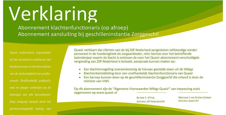 Verklaring deelname ZZP Nederland Quasir