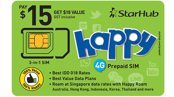 $15 Happy Prepaid SIM Card