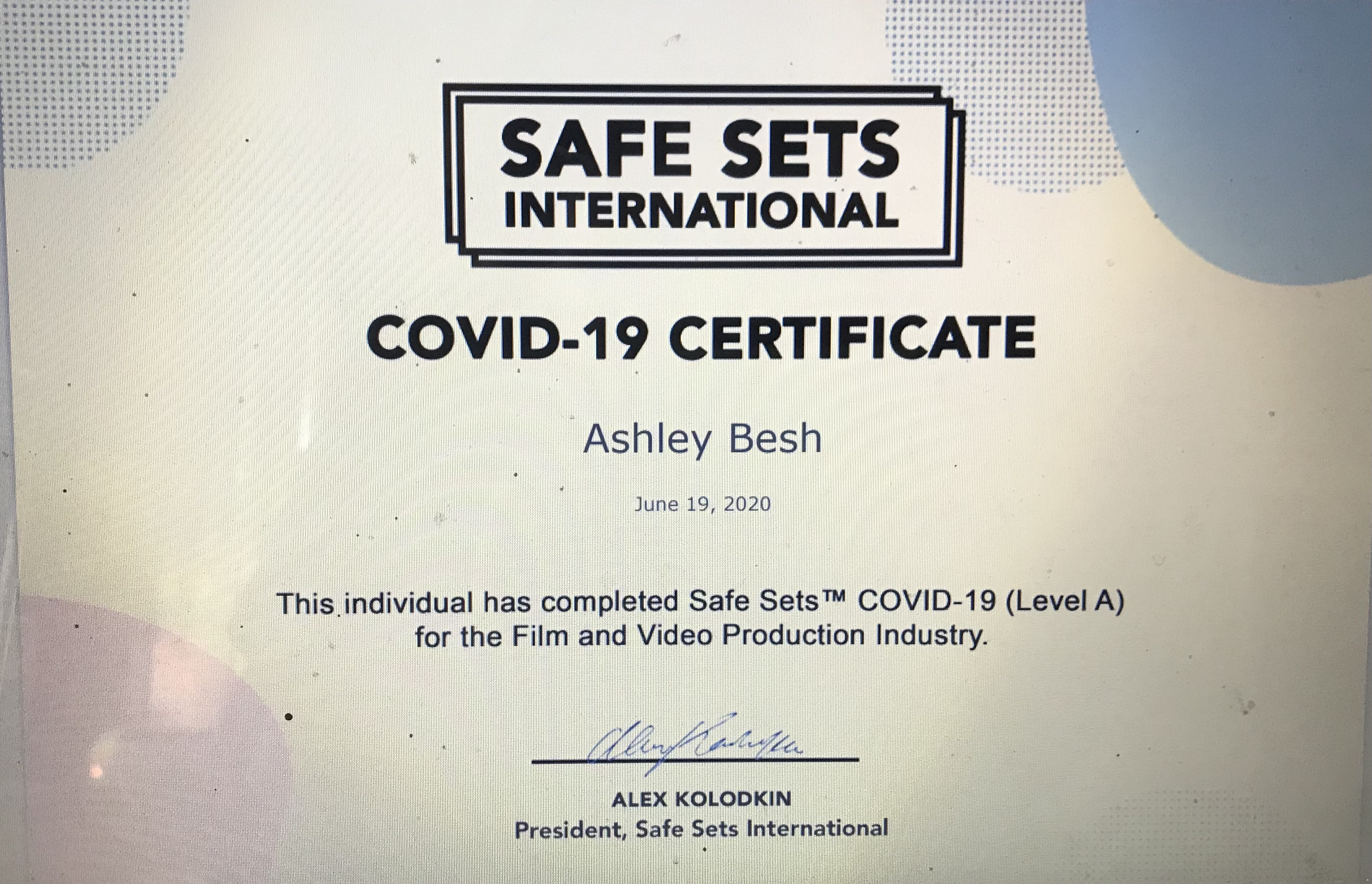 Safe Sets COVID-19 Certificate