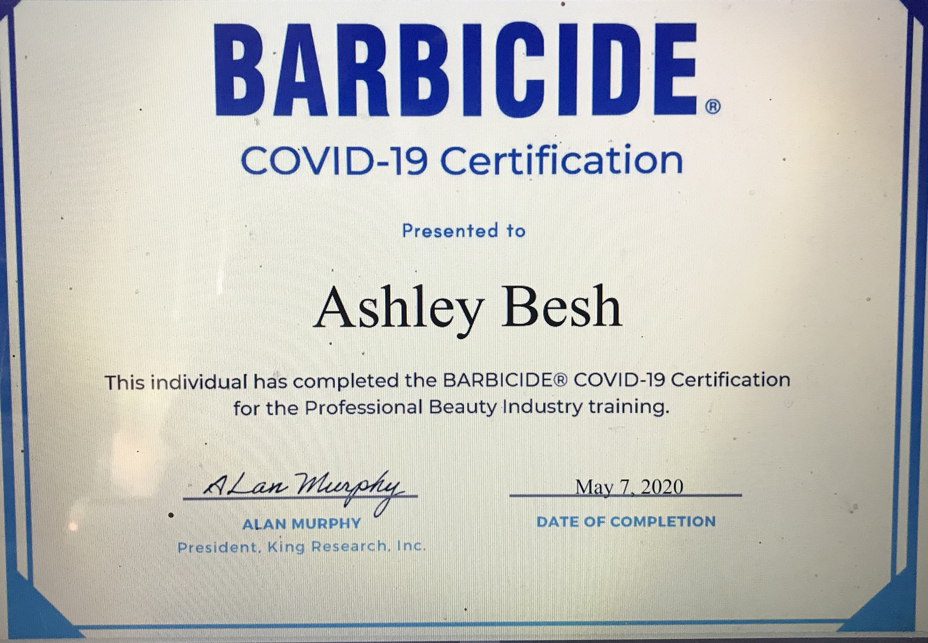BARBICIDE COVID-19 Safety Certification