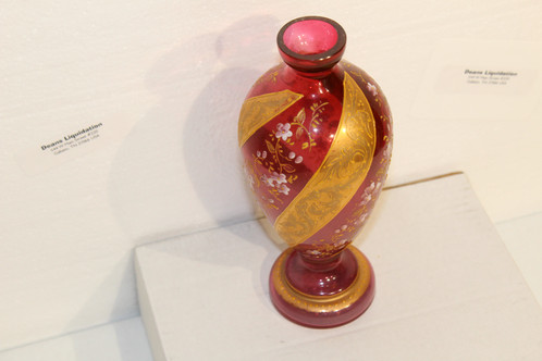 Antique Pink Glass Vase Hand Painted Floral W Gold