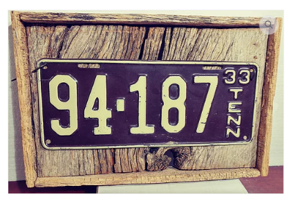 1933 Antique Tennessee License Plate