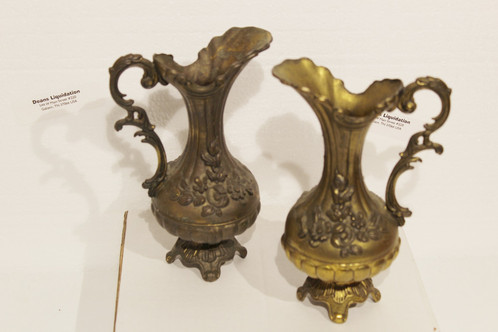1940s Made In Italy Brass Pitchers Flower Vases 7 Height