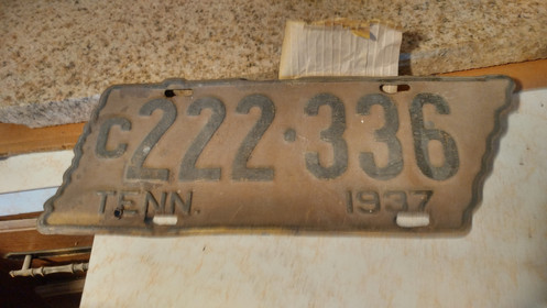1937 Tennessee License Plate