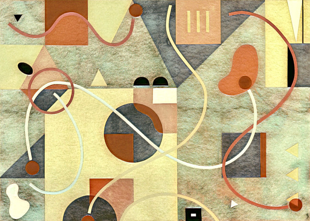 Abstract Painting titled S281-DA (2020) Basic Shapes, Lines, Yellow-Orange-Red