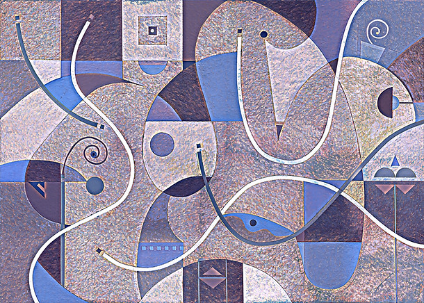 Abstract Painting titled S299-DA (2020) Basic Shapes, Lines, Purple-Blue