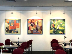 Abstract paintings S228, S229, S230, and S238 hung at Art @ St Francis, Melbourne.
