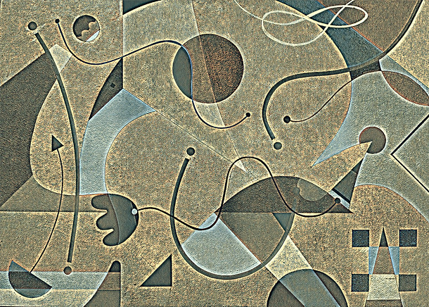 Abstract Painting titled S297-DA (2020) Basic Shapes, Lines, Blue-Grey