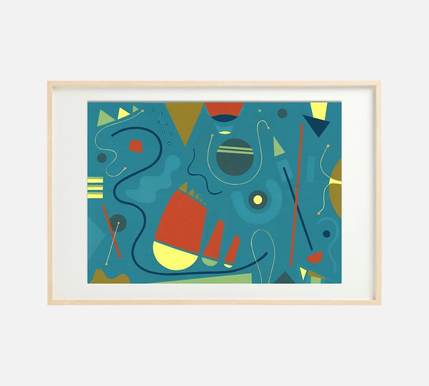 Giclee print of painting S264 in IKEA birch frame size 61 x 91 cm.