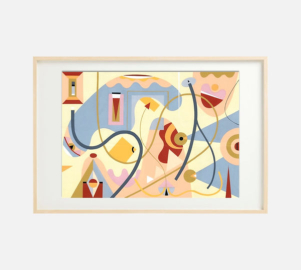 Giclee print of painting S272 in IKEA birch frame size 61 x 91 cm.