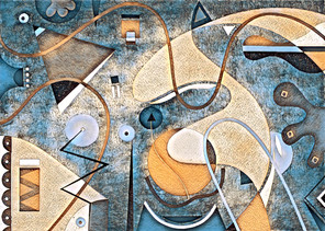 Abstract Painting titled S287-DA (2020) Basic Shapes, Lines, Blue-Orange-Brown