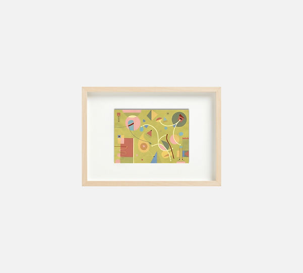 Giclee print of painting  S258 in IKEA birch frame size 21 x 29.7 cm