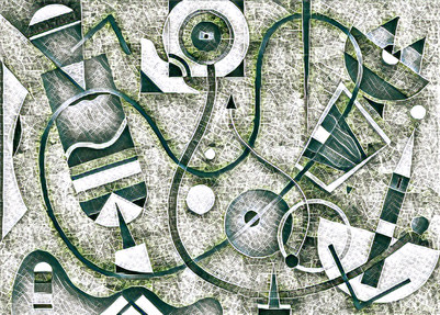 Digital work S309. Playful abstract. Rectangles, organic shapes, and lines. Grey tones.