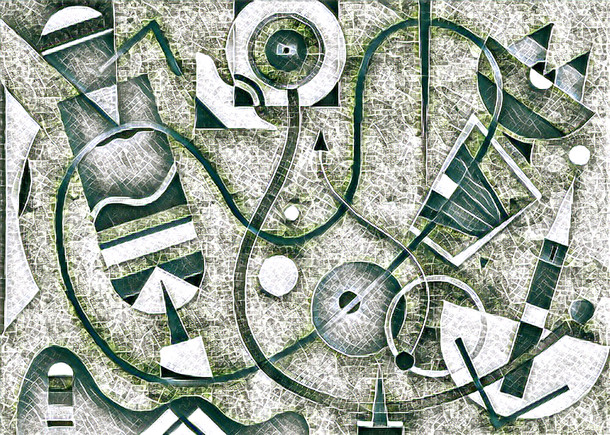 Abstract Painting titled S292-DA (2020) Basic Shapes, Lines, Grey-Tones