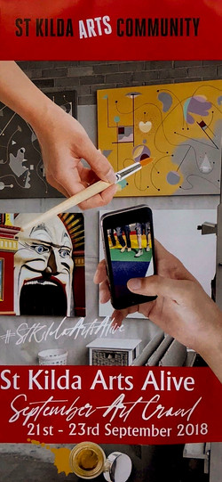 Abstract painting S253 featured on St Kilda Arts Community's promotional flyer.