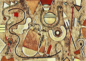 Abstract Painting titled S301-DA (2020) Basic Shapes, Lines, Red-Brown