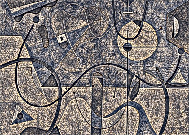 Abstract Painting titled S303-DA (2020) Basic Shapes, Lines, Blue-Grey