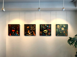 A close up of abstract paintings S223, S224, S234, and S236 at Art @ St Francis, Melbourne.