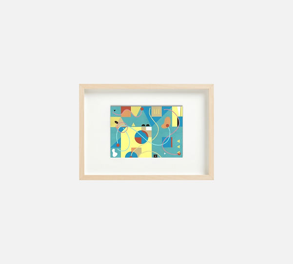 Giclee print of painting  S262 in IKEA birch frame size 21 x 29.7 cm.