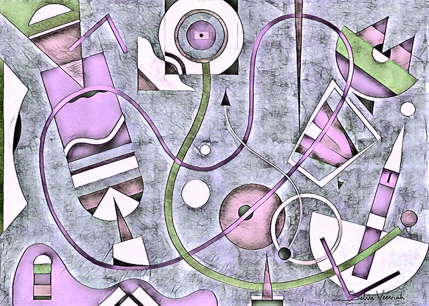 Abstract Painting titled S310-DA (2020) Basic Shapes, Lines, Purple-Blue