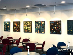 Abstract paintings titled S228, S229, S230, and S238 hung at Art @ St Francis, Melbourne.