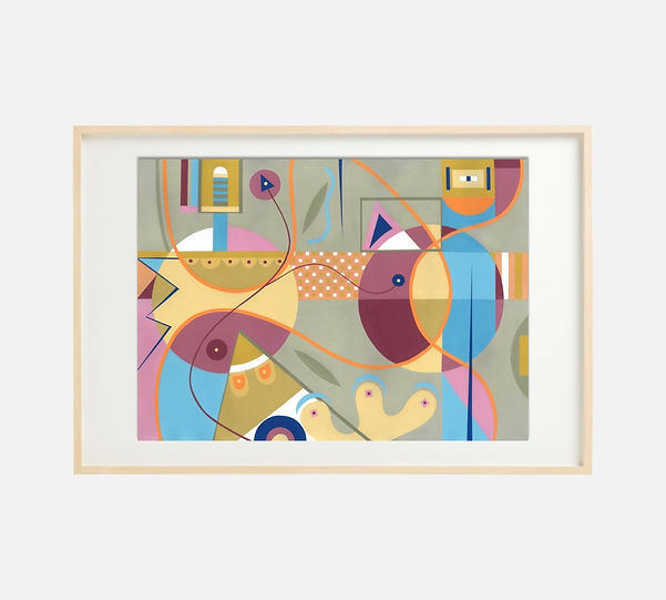 Giclee print of painting S269 in IKEA birch frame size 61 x 91 cm.