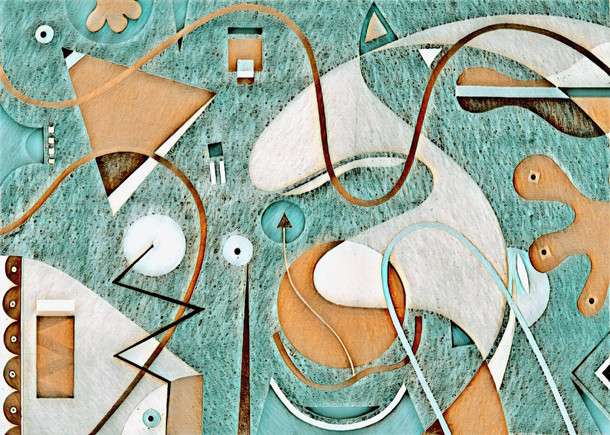 Abstract Painting titled S305-DA (2020) Basic Shapes, Lines, Blue-Orange