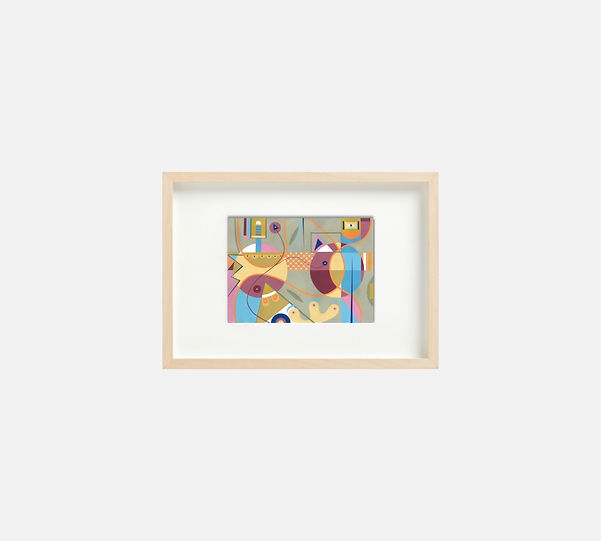 Giclee print of painting  S269 in IKEA birch frame size 21 x 29.7 cm.