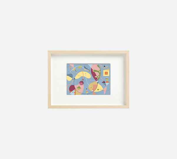 Giclee print of painting  S260 in IKEA birch frame size 21 x 29.7 cm.