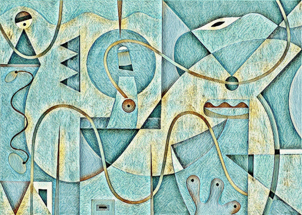Abstract Painting titled S304-DA (2020) Basic Shapes, Lines, Blue-Yellow