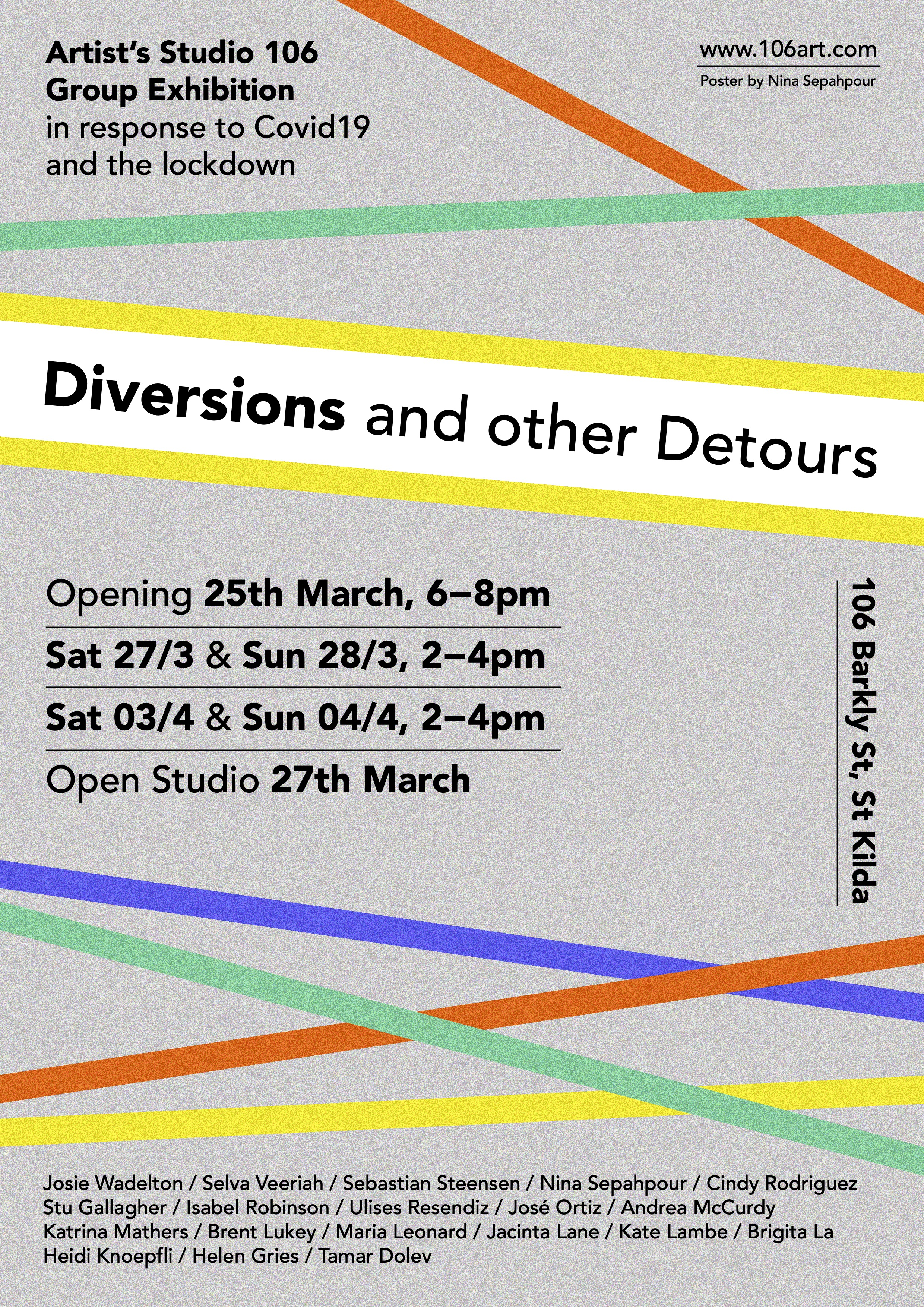 Artists Studio 106 - Promotional flyer for group exhibition 'Diversions & Detours' at Artists'
