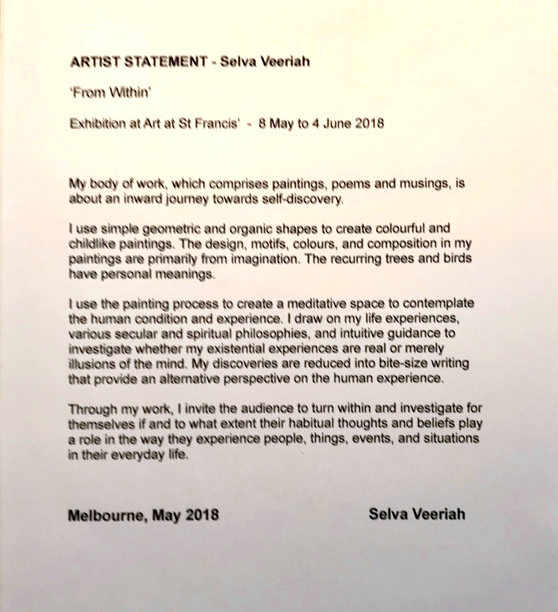 Artist statement for the exhibition 'From Within' at Art @ St Francis, Melbourne.