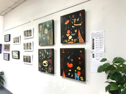 Abstract paintings S224, S223, S234, S236 hung at the exhibition 'Symbiotic Connection'.