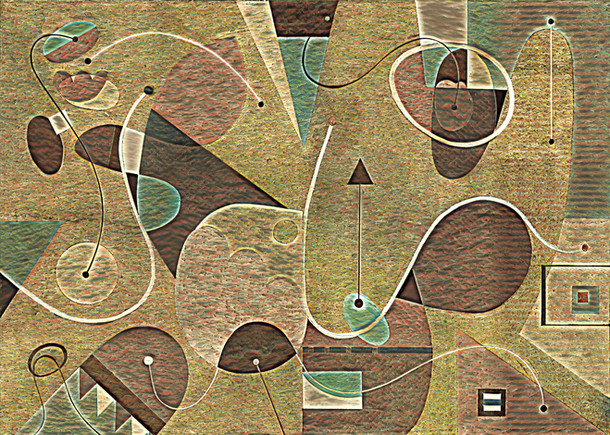 Abstract Painting titled S294-DA (2020) Basic Shapes, Lines, Red-Brown