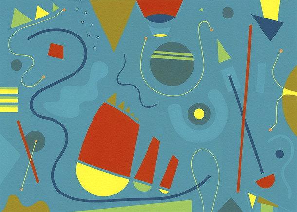 Abstract Painting titled S264 (2019) Colourful, Basic Shapes, Lines, Blue, Red, Yellow