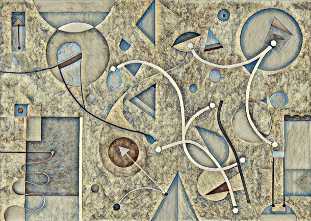 Abstract Painting titled S277-DA (2020) Basic Shapes, Lines, Grey-White-Blue