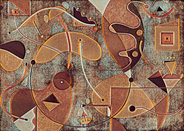 Abstract Painting titled S298-DA (2020) Basic Shapes, Lines, Red-Brown