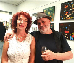 The director of Space2B, Violet Browne, and a friend at exhibition 'Symbiotic Connection'.