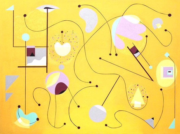 Abstract Painting titled S253 (2019) Colourful, Basic Shapes, Lines, Yellow, Purple, Pink