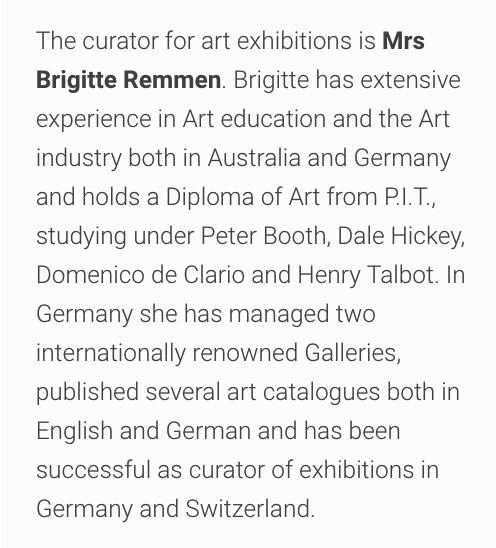 Profile of Brigitte Remen at Art @ St Francis who has extensive art industry experience.