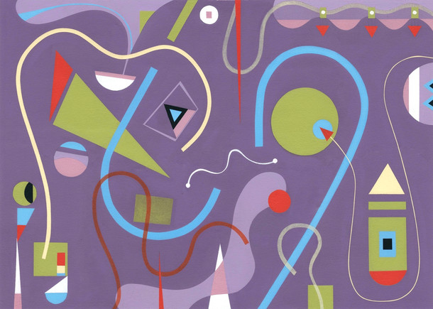 Abstract Painting titled S271 (2019) Colourful, Basic Shapes, Lines, Purple, Blue, Red