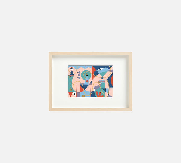 Giclee print of painting  S267 in IKEA birch frame size 21 x 29.7 cm.