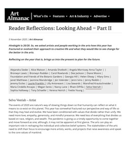 Artist Selva Veeriah's reflective thoughts on the year 2020 published in Art Almanac.