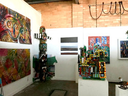 The main gallery at Artists' Studio 106 (St Kilda). There is an exhibition of residents' sculptures