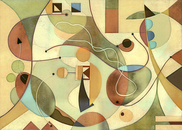 Abstract Painting titled S295-DA (2020) Basic Shapes, Lines, Blue-Red-Green
