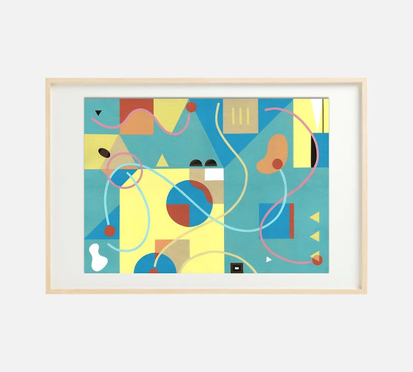 Giclee print of painting S262 in IKEA birch frame size 61 x 91 cm.