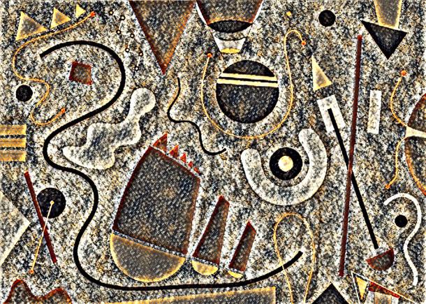 Abstract Painting titled S283-DA (2020) Basic Shapes, Lines, Black-Orange-White